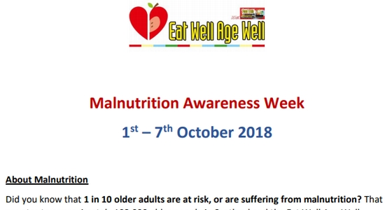 Eat Well Age Well Support Malnutrition Awareness Week