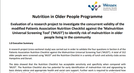 Nutrition in Older People Programme